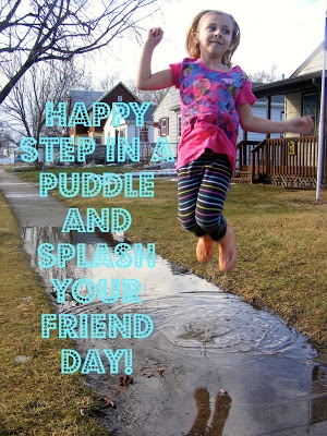 Wishing you wet galoshes & smiley milk mustaches! {Happy Step in a Puddle and Splash Your Friend Day AND National Milk Day! Yep. They're both things.}