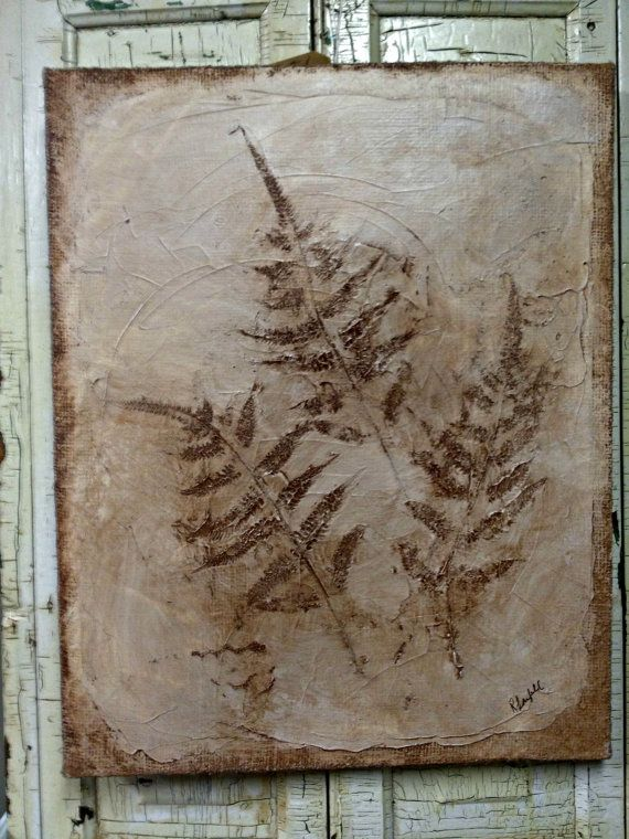 Fossil Fern Painting On Burlap By Rebeccavintageliving On