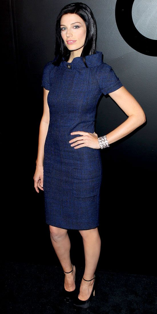 Pare feted Chanel Fine Jewelry's anniversary in the label's structured sheath, a sparkling cuff and satin heels.