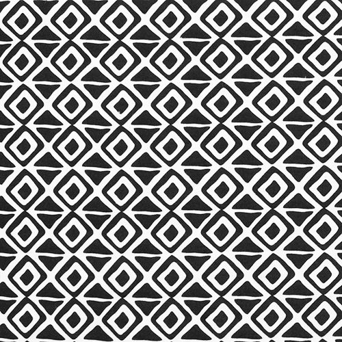 Black White Ethnic Diamond Modal Cotton Spandex Knit Fabric - A designer overstock score! Lovely modal cotton jersey with spandex knit in white with a black ethnic diamond repeating design. Fabric is mid weight with an excellent 4 way stretch and recovery, nice soft hand.  Diamond measures 1 1/4