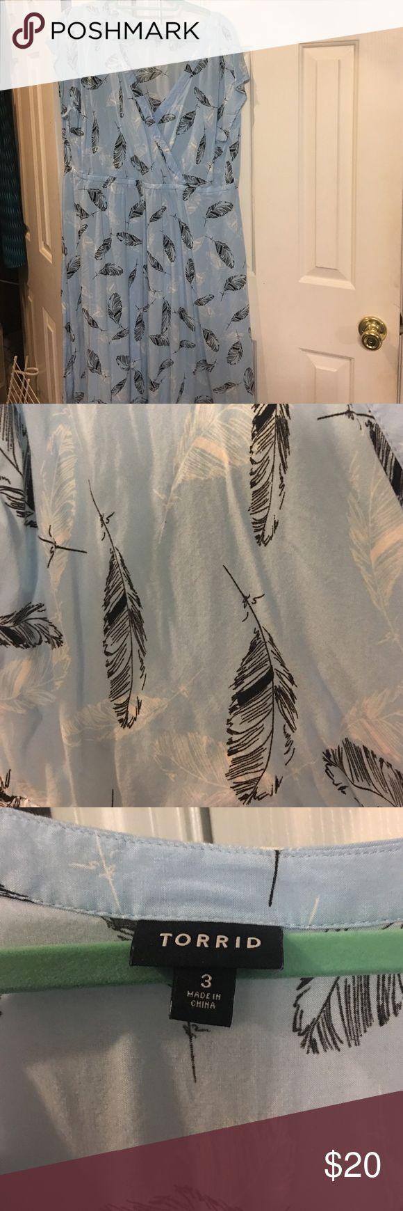 Size 3 (22/24) torrid spring dress Light blue with black and white feathers size 3 (22/24) torrid spring 👗 torrid Dresses Midi