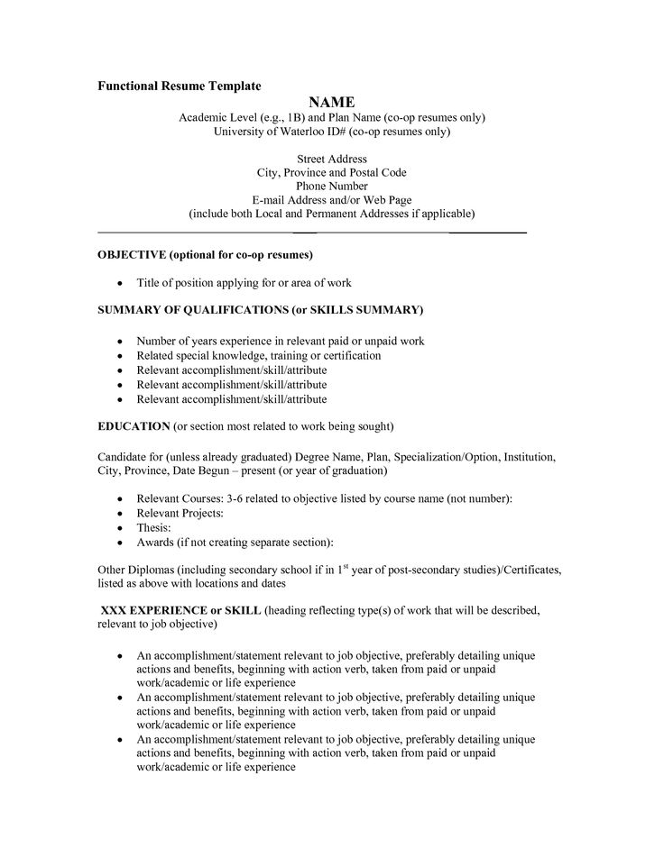 Blank Resume Template Pdf | Functional Resume Template   PDF  Functional Resume Outline