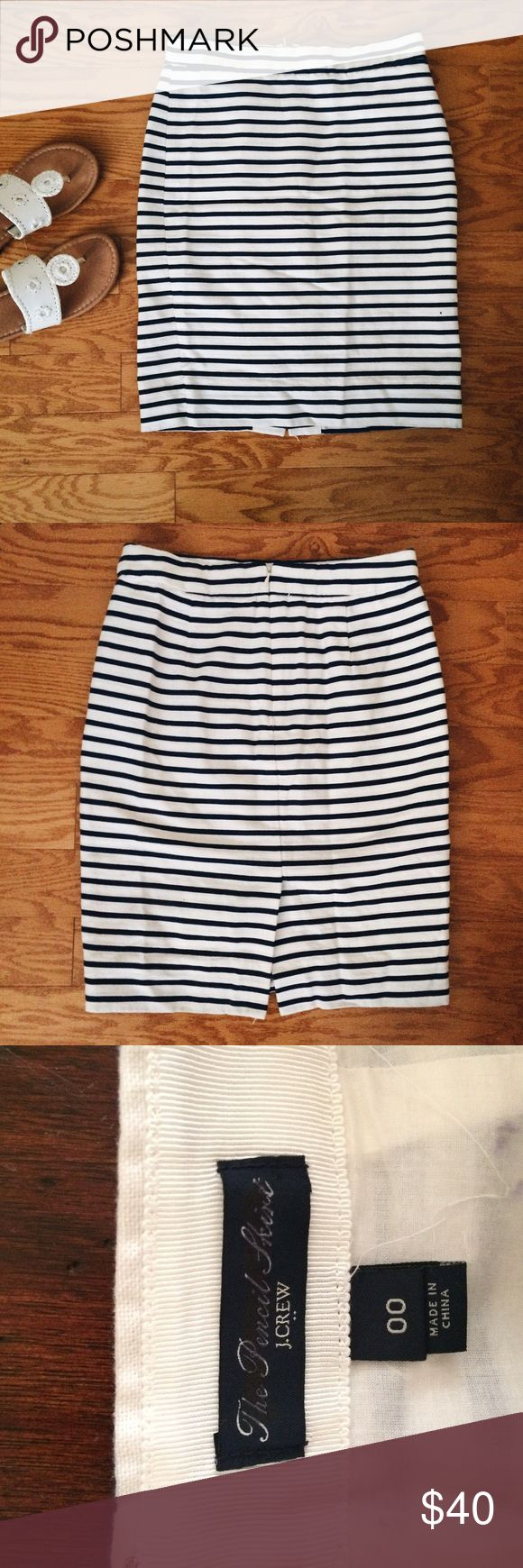 J. Crew navy and white pencil skirt This navy and white striped pencil skirt is a staple in any closet! Perfect for work, and in like new condition. J. Crew Skirts Pencil