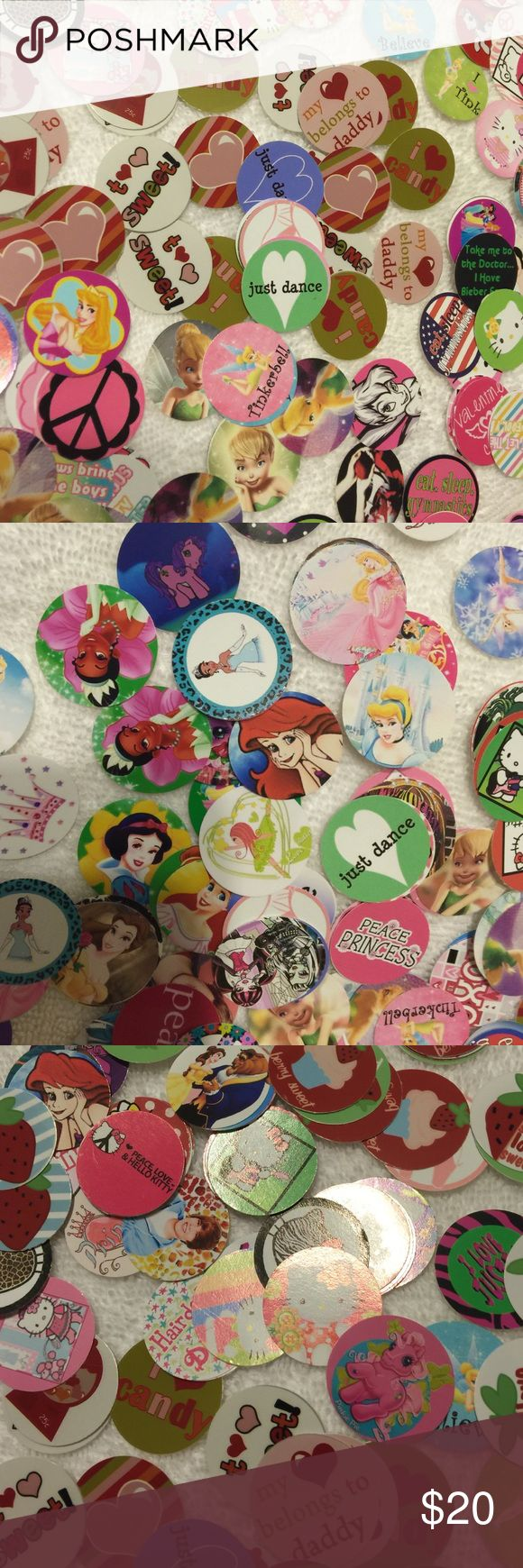 Bottle Cap Images (PRECUT) All brand new pre-cut images, includes over 100 images including tinker bell, gymnastics, hello kitty, cupcakes, peace signs, dance, daddy's girl, my little pony, dolphins, bratz, Snow White, princesses, kitties, cheetah print and more.. Also includes 50+bottle caps - total pieces over 200!!! Accessories Jewelry