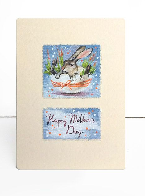 Rabbit Art painting mother art card mixed media art by ArtFable
