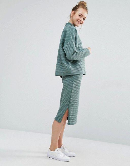 Monki | Monki Midi Grid Sweat Skirt