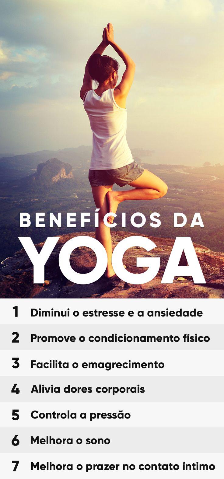 O yoga traz diversos benefícios para a saúde, tanto de mulheres quanto de homens, porque trabalha o corpo e a mente de forma interligada, com exercícios que auxiliam para o controle do estresse, ansiedade, dores no corpo e na coluna, além de melhorar o equilíbio e facilitar o emagrecimento.