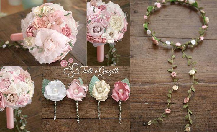 Set coordinato bouquet e accessori rosa e verde