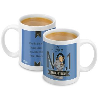 """Me to You No 1 Mug For Him  This Me to You personalised mug is a cute way to let him know he is your """"number one"""" on any occasion.   The mug can be personalised to the front with a role up to 10 characters within the banner eg: Dad, Grandad, Godfather.  Personalisation to the front will appear in UPPERCASE.  The text """"To a NO.1"""" is a fixed part of the design.   The reverse of the mug can be personalised with message over 4 lines up to 20 characters per line. Text to the reverse of the mug…"""