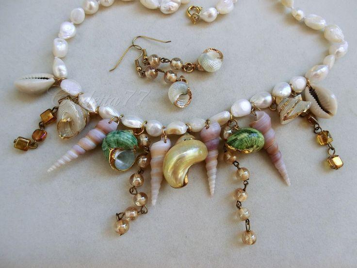 collana di conchiglie pokonaso | Victorian Cameo®: Mermaid necklace.....collana di perle naturali e ...