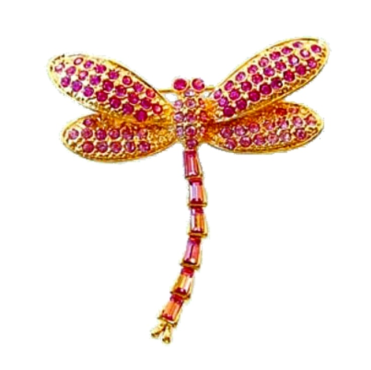 "Pink Dragonfly Pin Gold with Swarovski Crystals Brooch Jewelry  Save 10% on your order! Use code ""pinterest"" FREE STANDARD SHIPPING ON ALL ORDERS!"