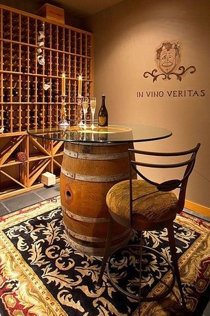 Craftsman Wine Cellar with travertine tile floors, Built-in bookshelf, stone tile floors, Standard height