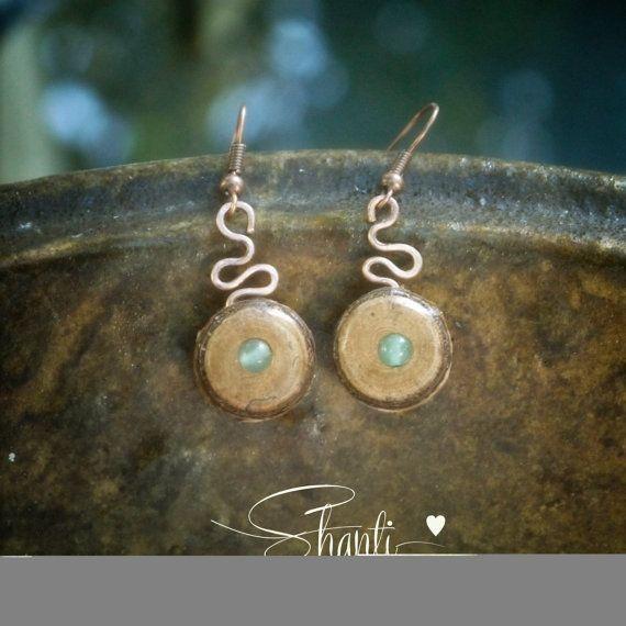 Aventurine Earrings//Wooden Earrings//Antique Copper