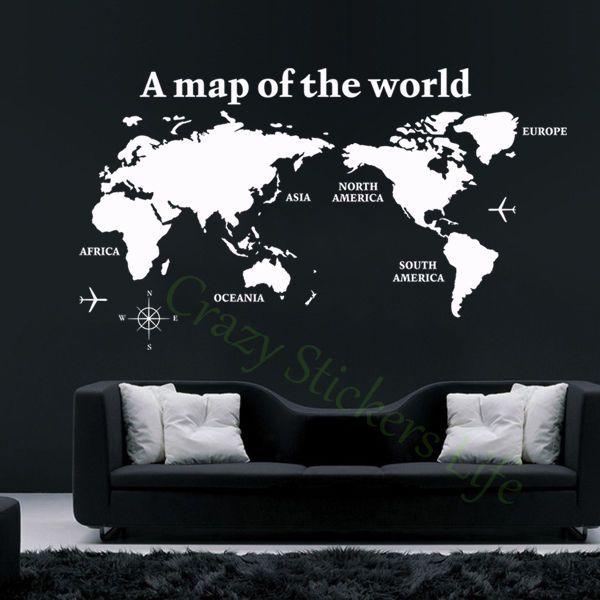 Big Global World Map of the World Atlas Wall Sticker Art Mural Decor Decal DIY