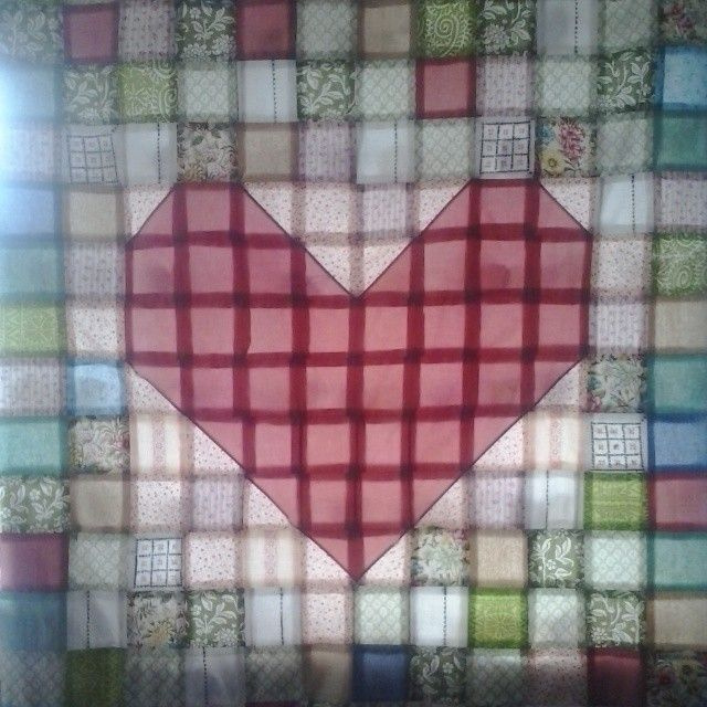Almost done.  #patchwork #heart #sew #cotton #color #queenzoja