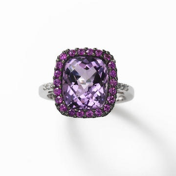 Amethyst with Pink Sapphire Ring, 14K White Gold