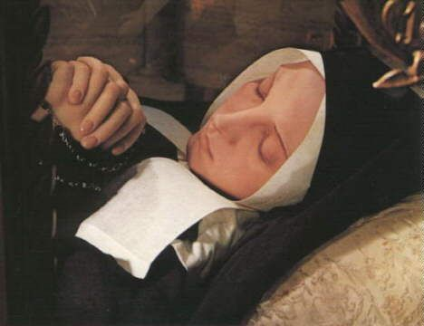 "Note that some of the Saints are marked as ""incorrupt""; this refers to the phenomenon whereby some Saints' bodies do not corrupt after death. An example is St. Bernadette Soubirous, who saw Our Lady at Lourdes and who now lies in a glass coffin at her convent in Nevers, France. Though she died in A.D. 1879, she is as lovely as she ever was."