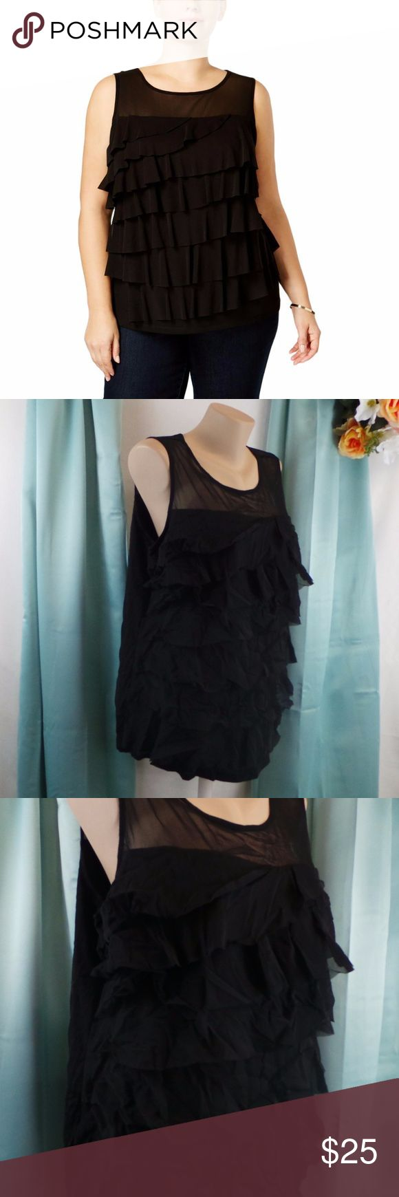 Sheer Ruffled Illusion Sleeveless Casual Top Plus Manufacturer: INC Sheer top with ruffled / layered bottom Retail: $59.50 Condition: New with tags Style Type: Knit Top Collection: INC Sleeve Length: Sleeveless Closure: Material: 100% Nylon Fabric Type: Nylon Specialty: Ruffled and layered look  706257154748 AD4 INC International Concepts Tops Tank Tops