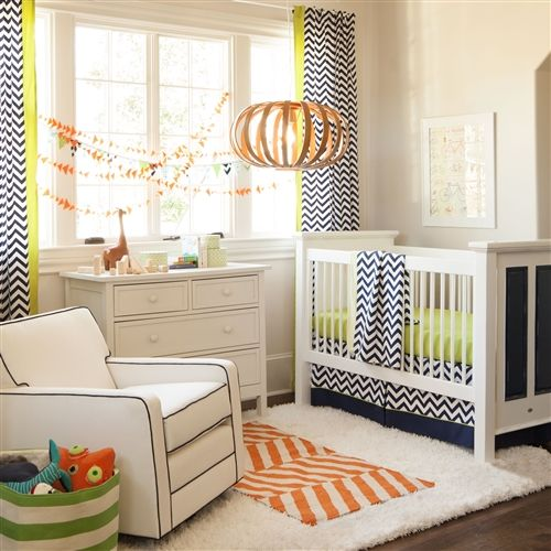 Love the pop of lime on these navy #chevron drapes - perfect for the nursery and will transition beyond! #nursery #drapes: Crib Bedding, Zig Zag, Citron Zig, Carousels Design, Baby Boys, Cribs Beds Sets, Zag Cribs, Baby Cribs Beds, Boys Baby