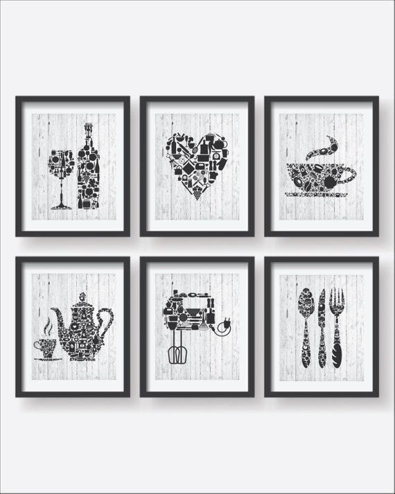 6 Set Kitchen Collections Decor Kitchen Poster Set Kitchen Icons