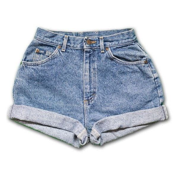 Vintage 90s Lee light/medium Blue Wash High Waisted Rise Cut Offs Cuff ❤ liked on Polyvore featuring shorts, bottoms, denim, jeans, high rise denim shorts, denim shorts, high-waisted cut-off shorts, high rise shorts and denim cut-off shorts