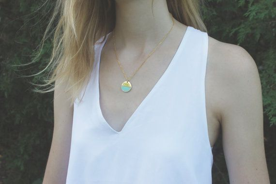 Mint and Gold Circle Necklace // 16K Gold // Minimal Necklace