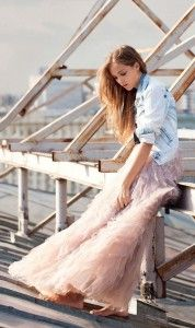 Denim jacket with maxi skirt. Learn how to wear denim this fall 2015 >>> http://justbestylish.com/how-to-wear-denim-this-fall-2015/