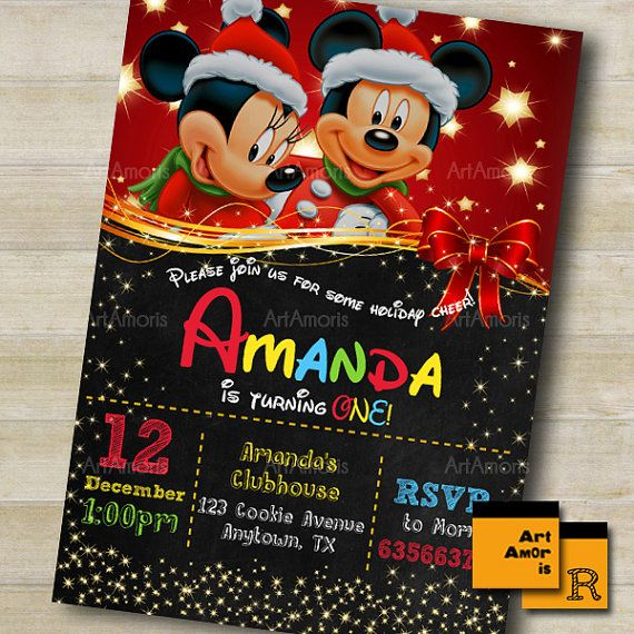 Mickey Birthday Invitation Christmas Birthday by ArtAmoris on Etsy
