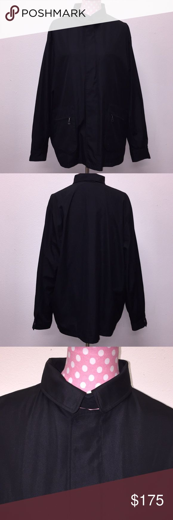 Prada Women's Zip Up Coat Size XXL. In very excellent condition! Shows no signs of wear. All black with silver details. 100% polyester. Two pockets. Feel free to ask any questions! No trades sorry, and offers thru offer button only! Items ship same day M-F if purchased before 3pm PST. 😊xx... Prada Jackets & Coats