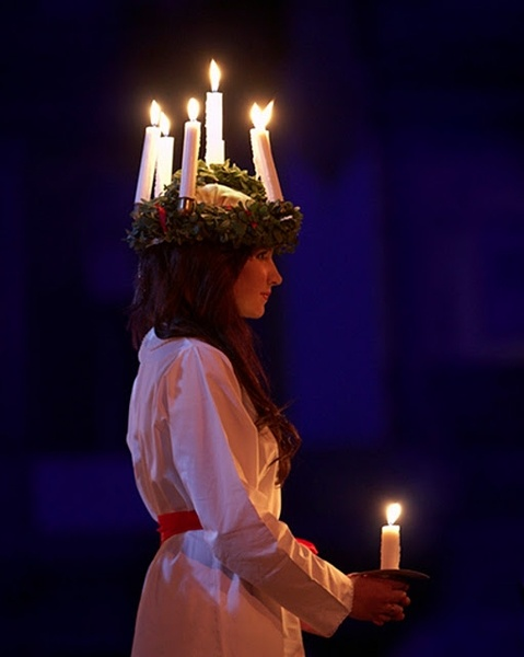 Santa Lucia - a Swedish tradition - on the 13th of December every year she brings light in the midst of darkness!