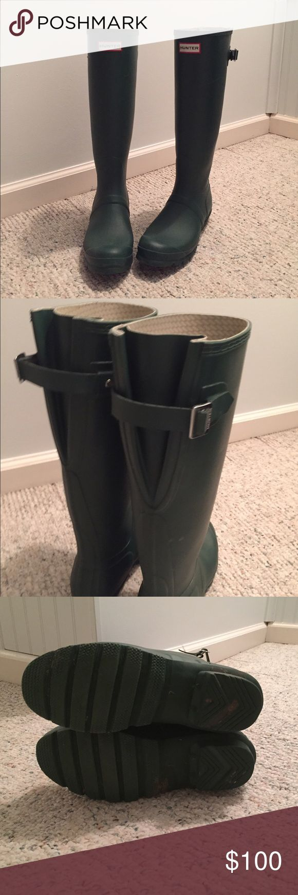 Wide Calf Hunter Rain Boots Wide-calf Hunter rain boots in matte green. GREAT condition!! Minor scuffs & scratches, the only noticeable one is pictured. Make an offer!!! Hunter Boots Shoes Winter & Rain Boots