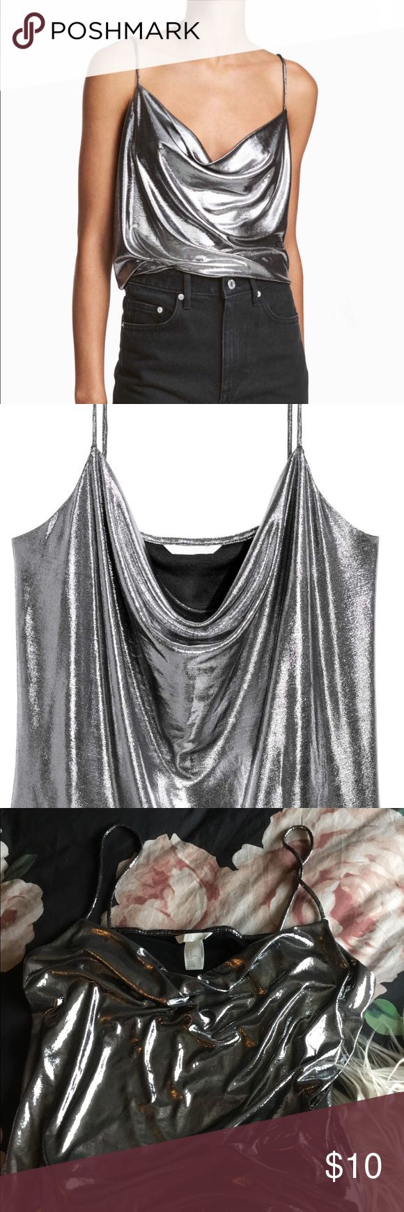BRAND NEW H&M Dropped neckline metallic cami Never worn H&M shiny blouse. Trendy drooped neckline. H&M Tops Camisoles