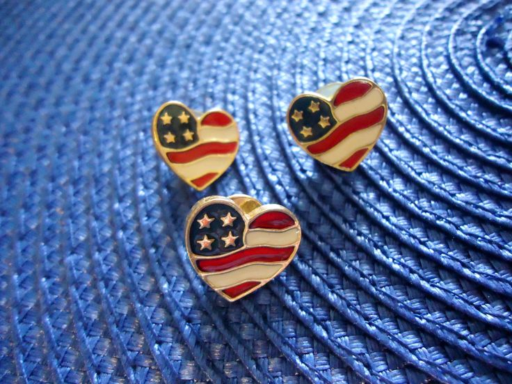 Vintage Avon Heart of America American Flag Earrings and Pin  Patriotic Red White Blue Stars Set by GrannysInspirations on Etsy