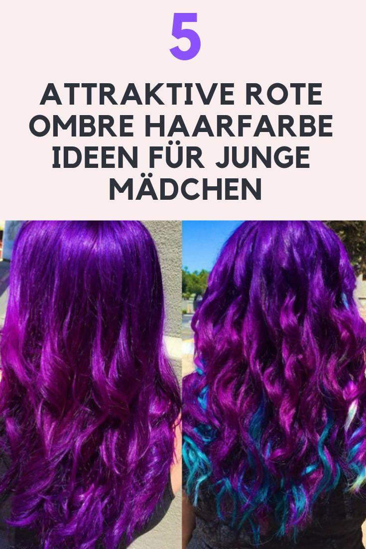 Lila und rote Ombre Haare: 1 rote Ombre Frisuren für Mädchen Vibrierende purpurne und rote Ombre-Haare sind hervorragend, um die gewünschte mutige Anmut zu erzeugen. Für Bohemien und Gothic-Fashion-Liebhaber ist diese Kombination eine grandiose Auswahl. Wenn Sie dicke Haare haben, dann nehmen Sie diese roten Ombre-Farben und genießen Sie ihre Anmut in lockigem Haarstyling.