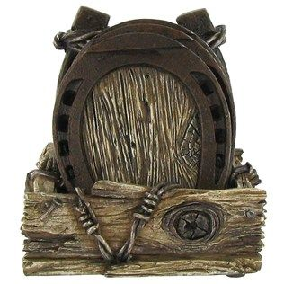 Horseshoe Coaster Set Will Look Right At Home In Your Western Themed Family  Room, Game Room, Or Office. With A Weathered Metallic Finish And Intricate  ...