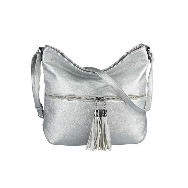 OBC Damen Tasche Shopper Metallic Schultertasche Umhängetasche Crossbody Henkeltasche Beuteltasche Leder Optik Crossover Silber
