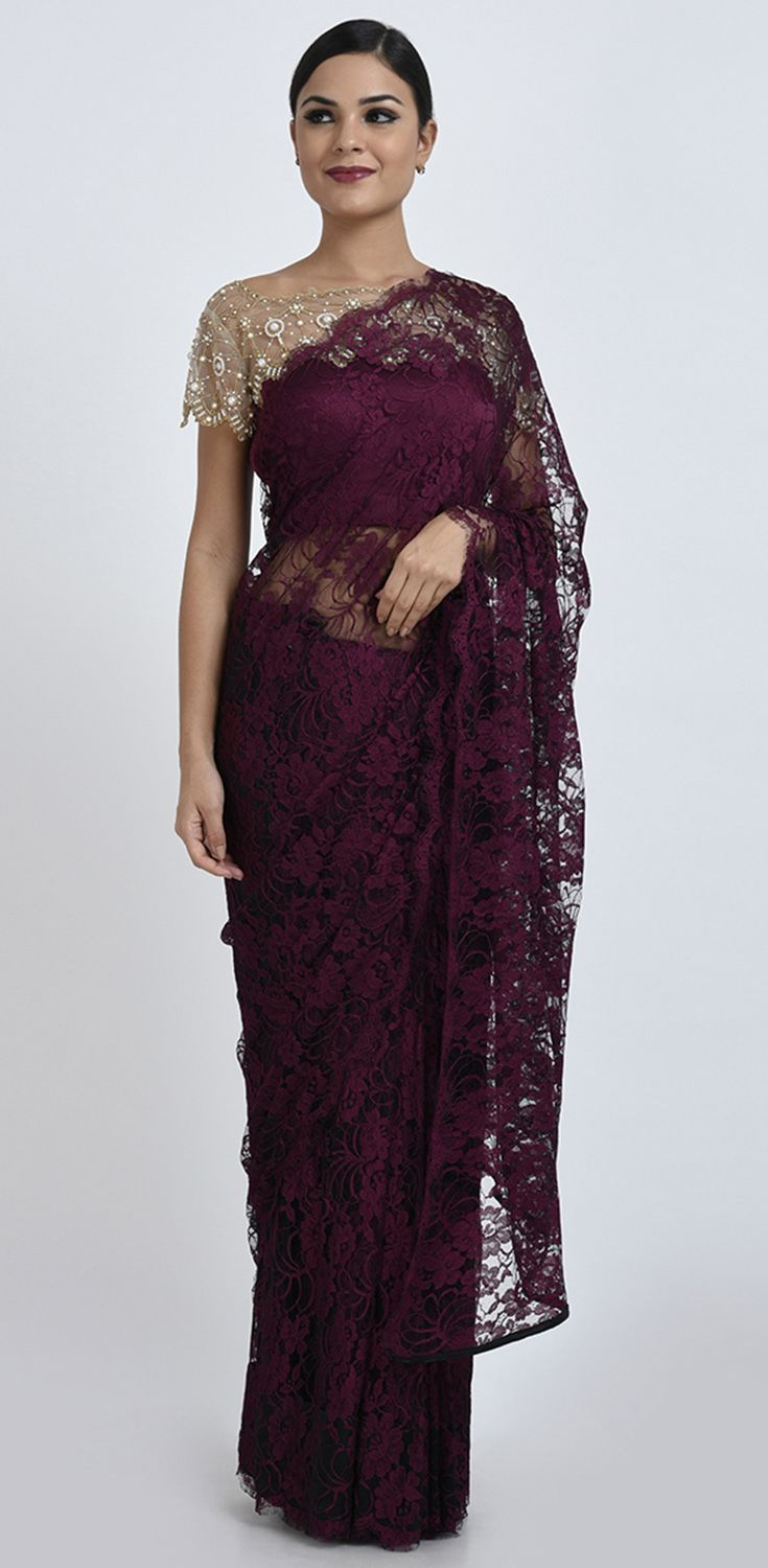 a751e7476a3ed Burgundy- Black French Chantilly Lace Saree With Pearl Beaded Blouse ...