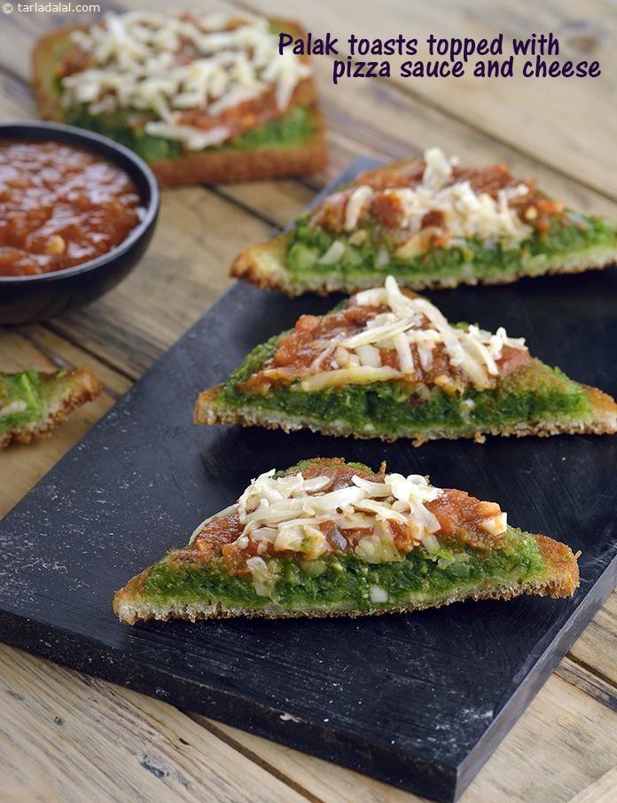 Palak Toast Topped with Pizza Sauce and Cheese recipe | by Tarla Dalal | Tarladalal.com | #41313