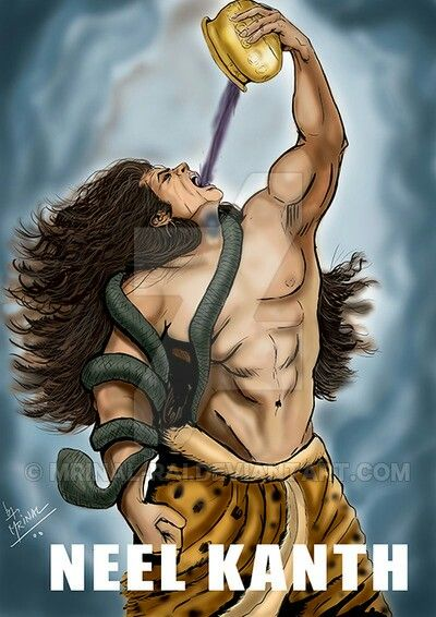 Lord Shiva drinking halahala... to save all living things from destruction