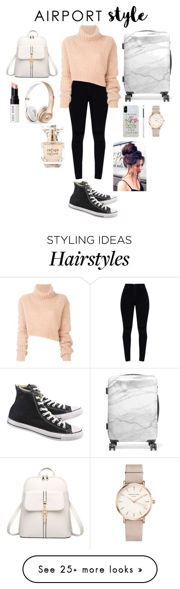 """""""Airport Style contest"""" by gabby-galindo-97 on Polyvore featuring Ann Demeulemeester, Converse, CalPak, ROSEFIELD, Bobbi Brown Cosmetics, Refuge and airportstyle"""