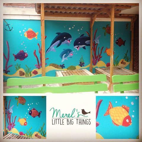 Muurschildering vandaag afgerond.. Op naar het volgende ontwerp....voor kinderopvang More Than Kidz #kinderopvang#muurschildering#wallpaint#kinderkamer#aquarium#zee#merelslittlebigthings