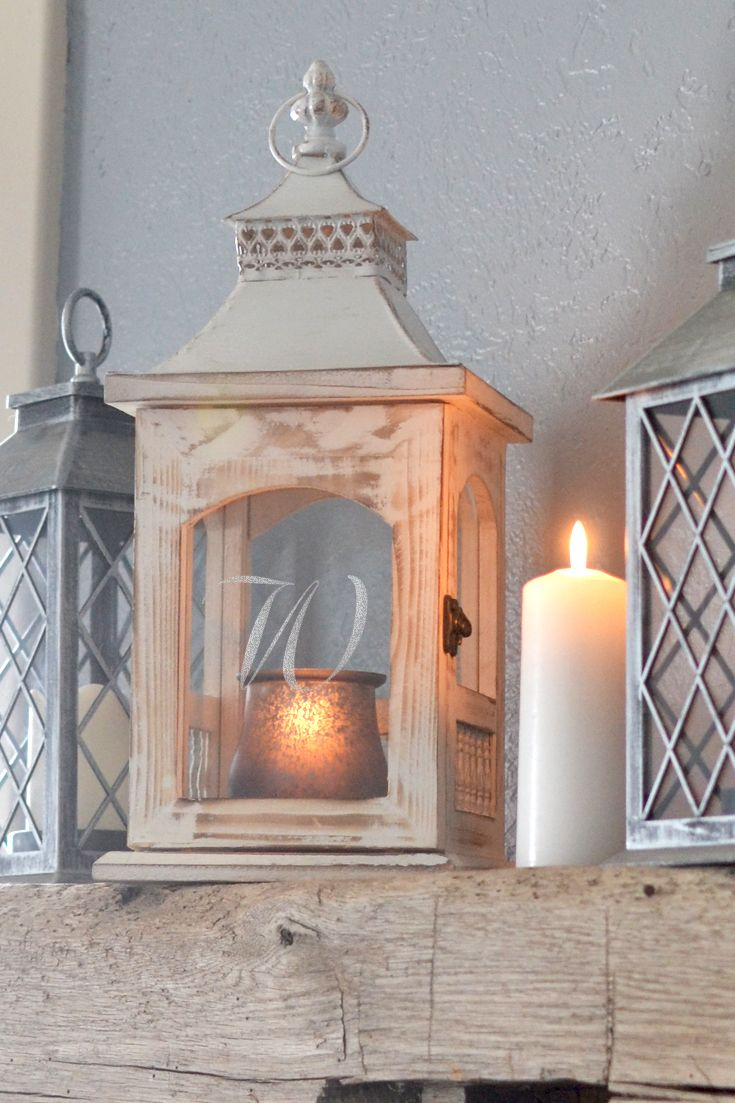 A unique, house warming or home decoration gift for your bridesmaids, family or best friend, this 18 inch tall rustic whitewash candle lantern with glass windows personalized with choice of large single initial or single initial above two lines of custom print has lots of room inside for large pillar candle. The perfect accent for a fireplace mantle, end table, or dining room table, this lantern can be ordered at http://myweddingreceptionideas.com/personalized-rustic-glass-candle-lantern.asp