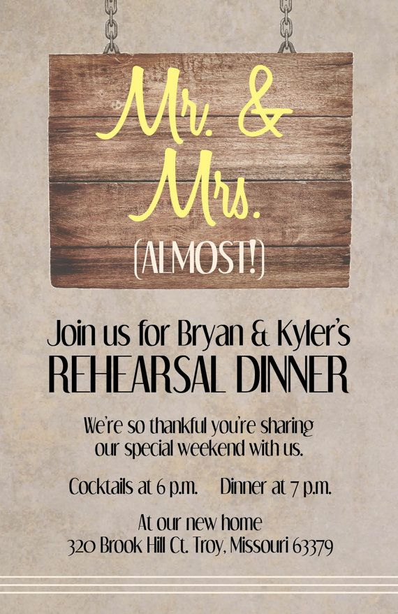 Invite your closest family and friends to rehearse before your big day with this rustic rehearsal dinner card. #wedding #invitation