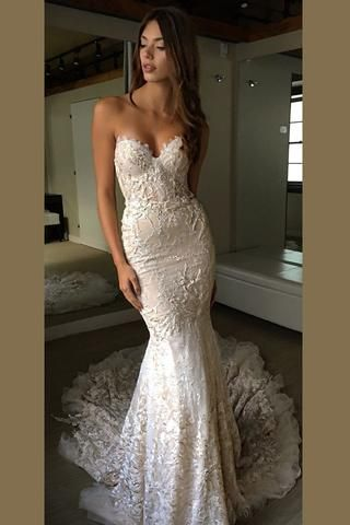 Luxurious Sweetheart Strapless Open Back Wedding Dresses,Trumpet Sweep Train Wed…