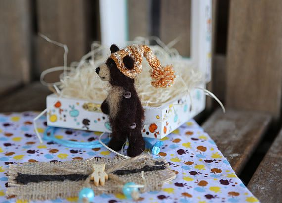 Mini needle felted brown and beige teddy bear with cotton gift