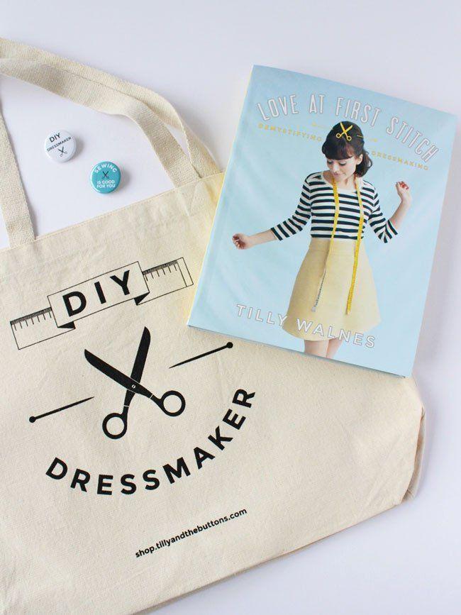 Book Bag Badge Bundle – includes Tilly's bestselling book Love at First Stitch and DIY dressmaker bag