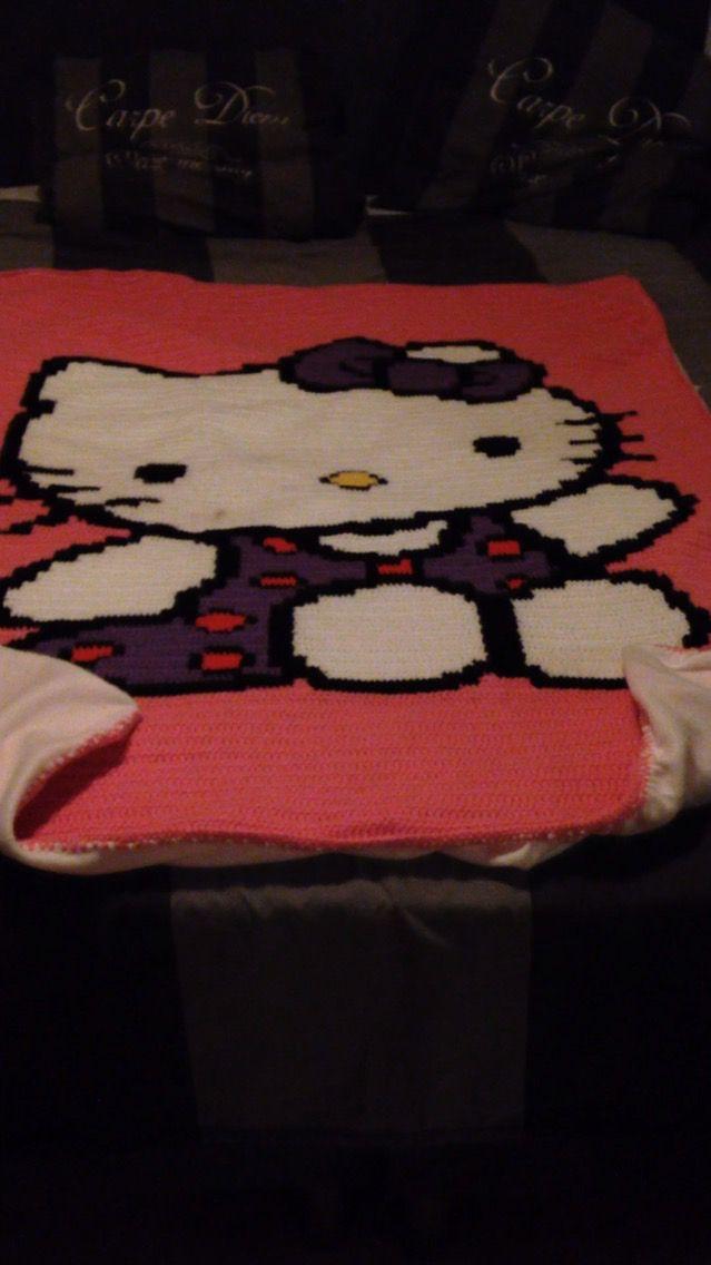 Pixel deken voor Lana gemaakt. Hello Kitty