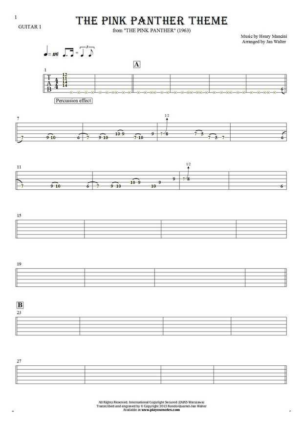 The Pink Panther Theme - Henry Mancini And His Orchestra. From album The Pink Panther (1963). Part: Tablature for guitar - guitar 1 part