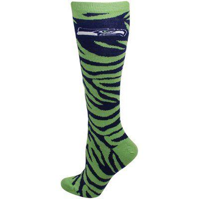 Seattle Seahawks Ladies Zebra Print Tube Sock - Neon Green/College Navy