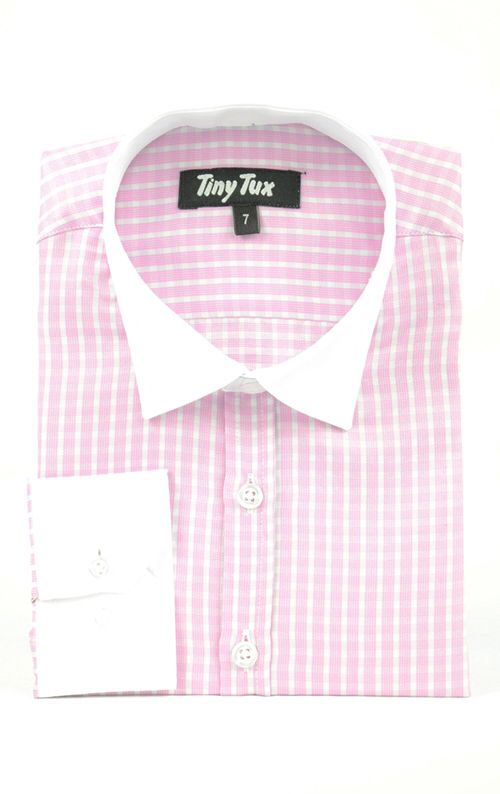 Burlington check pink boys shirt